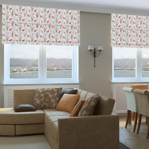 Floral Fabric Roman Blinds Bloom Cherry 1 Living Room Roman Blinds