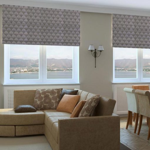 geometric fabric roman blinds palais pewter living room