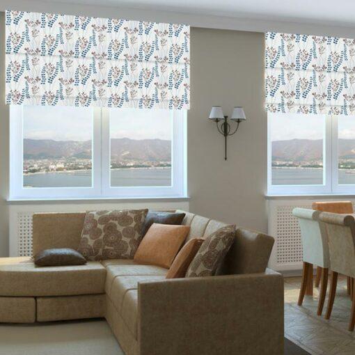 floral fabric roman blinds potpourri opal living room