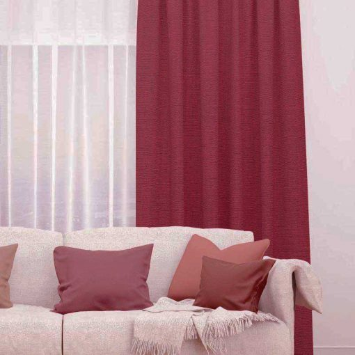 Bonny Merlot Plain Fabric Thermal Curtains NZ