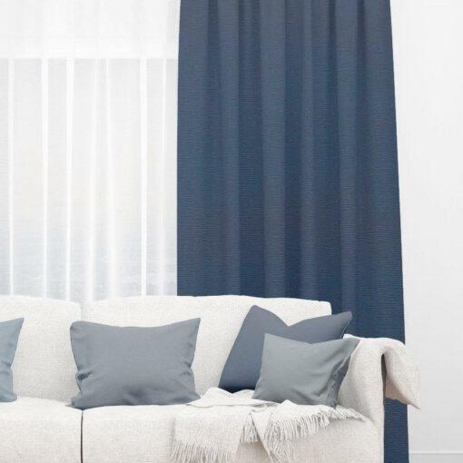 Bonny Midnight Plain Fabric Thermal Curtains NZ