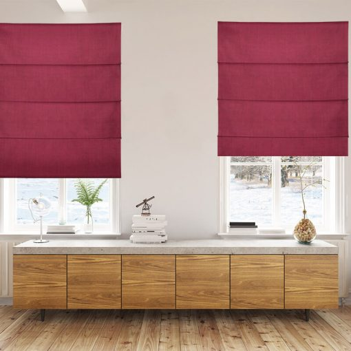 Bonny Merlot Plain Fabric Thermal Roman Blinds NZ