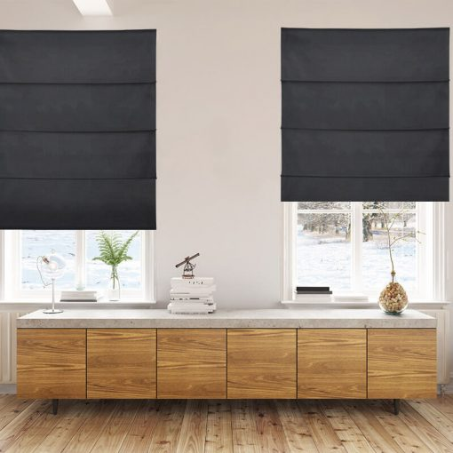 Bonny Onyx Plain Fabric Custom Made Blinds