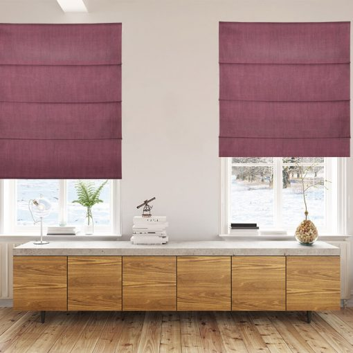 Bonny Plum Plain Fabric Thermal Roman Blinds NZ