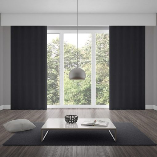 Bonny Onyx Plain Fabric Thermal Curtains NZ