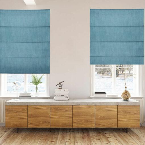 living room roman blinds bonny teal