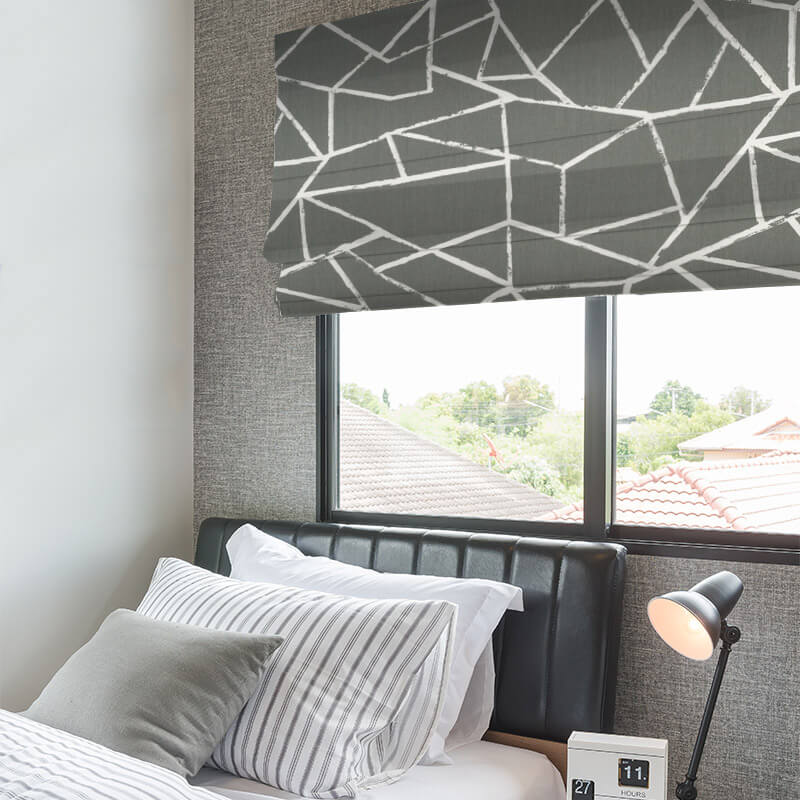 Polygon Grey Window Treatments Enticing Geometric Blinds Nz