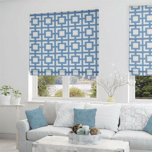 roman blinds mykonos azure