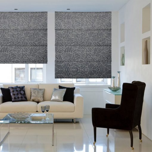 Laurel Smoke Roman Shades Deluxe Electric Blinds Nz