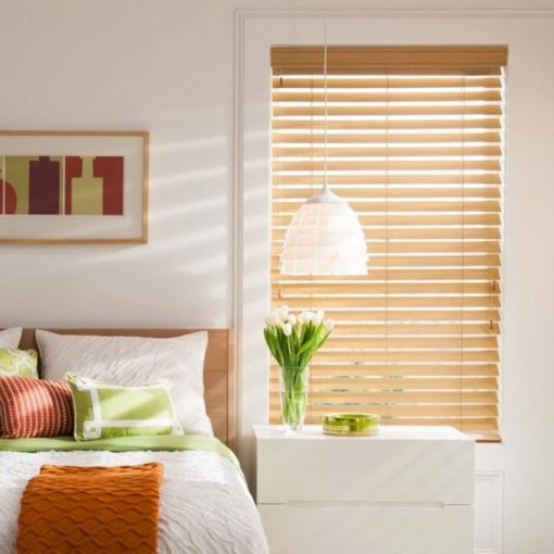 Bedroom slat blinds Woodefex Cedar Light